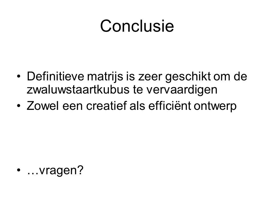 Conclusie Definitieve matrijs is zeer geschikt om de zwaluwstaartkubus te vervaardigen Zowel een creatief als efficiënt ontwerp …vragen