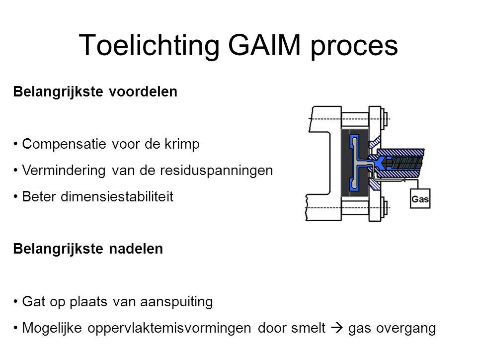 Toelichting GAIM proces Belangrijkste voordelen Compensatie voor de krimp Vermindering van de residuspanningen Beter dimensiestabiliteit Belangrijkste nadelen Gat op plaats van aanspuiting Mogelijke oppervlaktemisvormingen door smelt  gas overgang