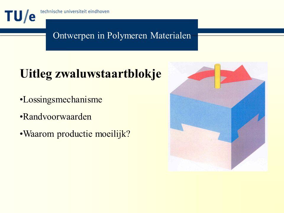 Ontwerpen in Polymeren Materialen Uitleg zwaluwstaartblokje Lossingsmechanisme Randvoorwaarden Waarom productie moeilijk?