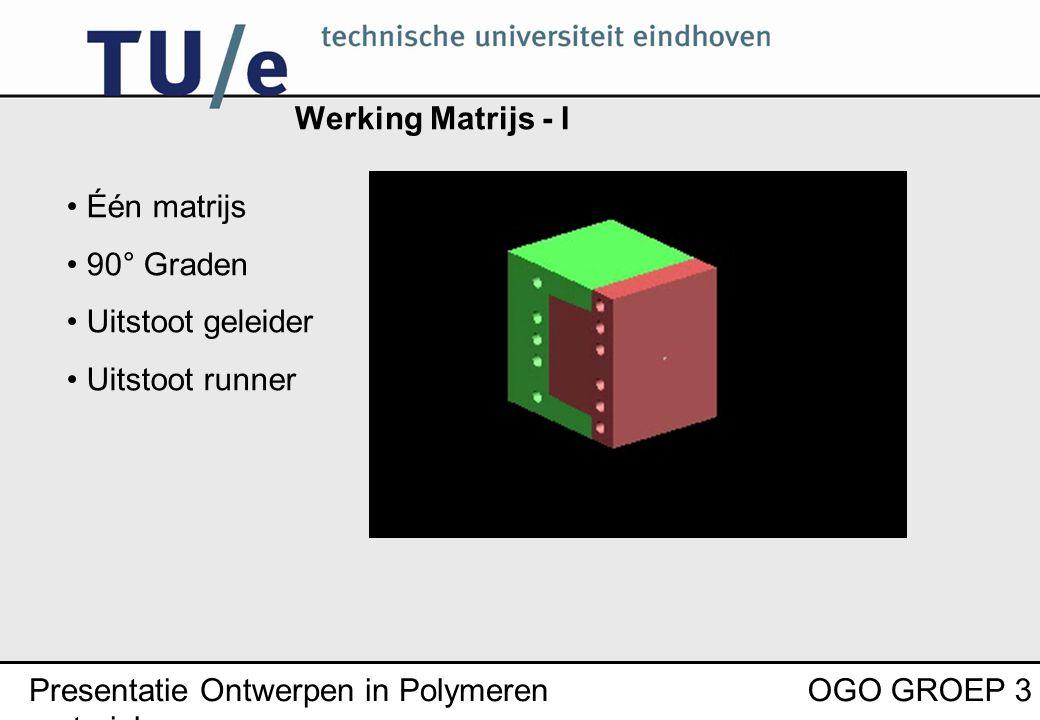 Presentatie Ontwerpen in Polymeren materialen OGO GROEP 3 Werking Matrijs - I Één matrijs 90° Graden Uitstoot geleider Uitstoot runner