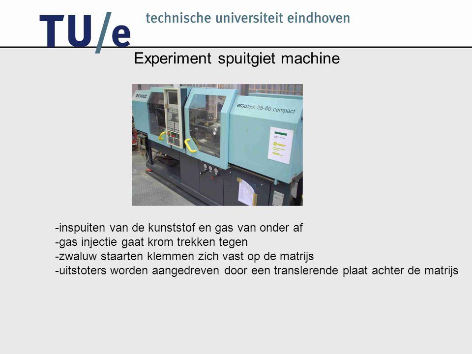 Experiment spuitgiet machine -inspuiten van de kunststof en gas van onder af -gas injectie gaat krom trekken tegen -zwaluw staarten klemmen zich vast