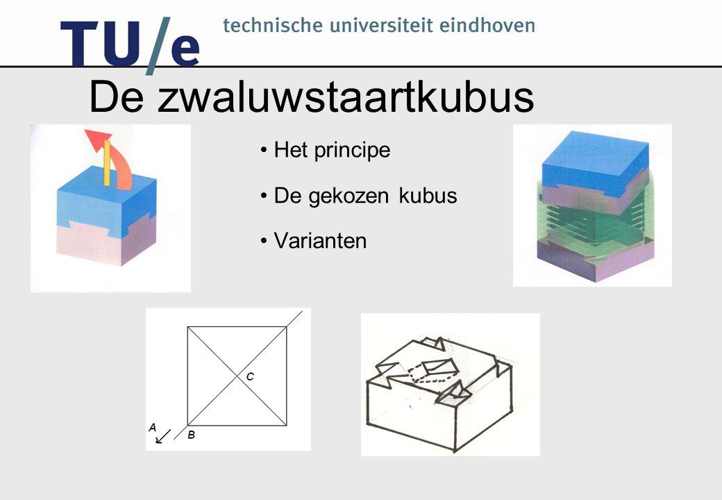 De zwaluwstaartkubus Het principe De gekozen kubus Varianten
