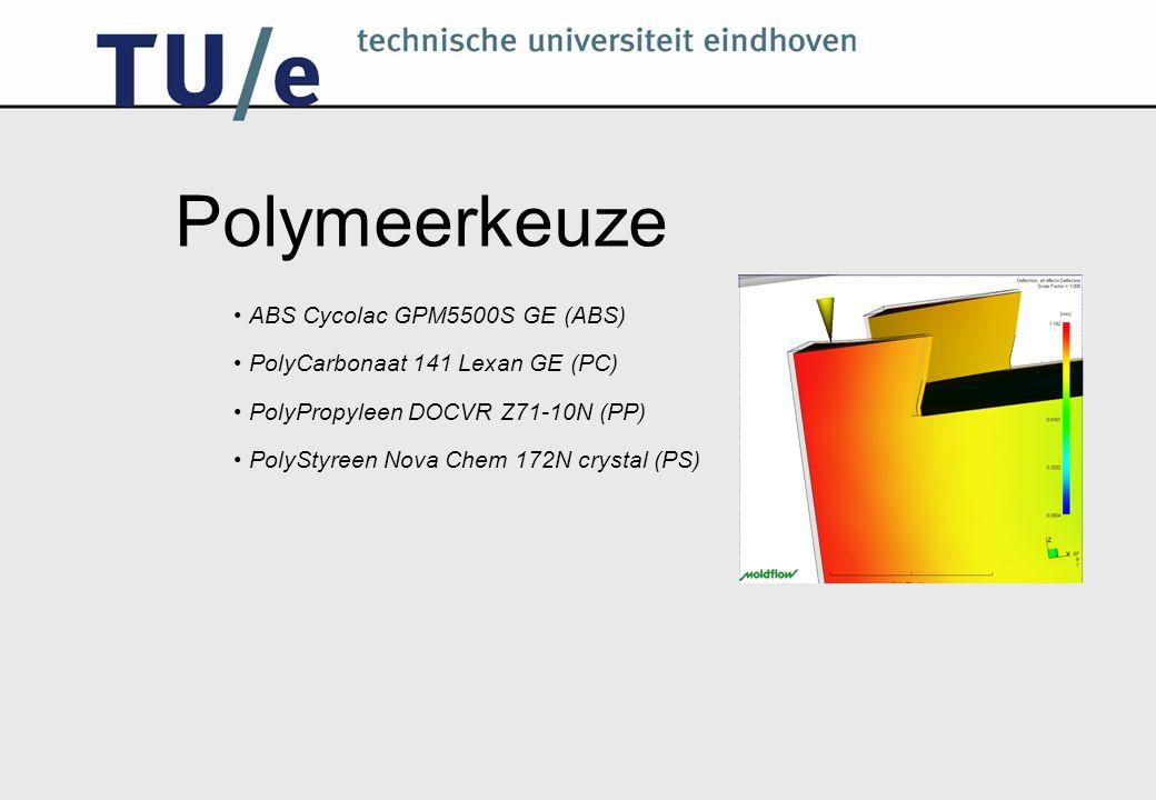 Polymeerkeuze ABS Cycolac GPM5500S GE (ABS) PolyCarbonaat 141 Lexan GE (PC) PolyPropyleen DOCVR Z71-10N (PP) PolyStyreen Nova Chem 172N crystal (PS)