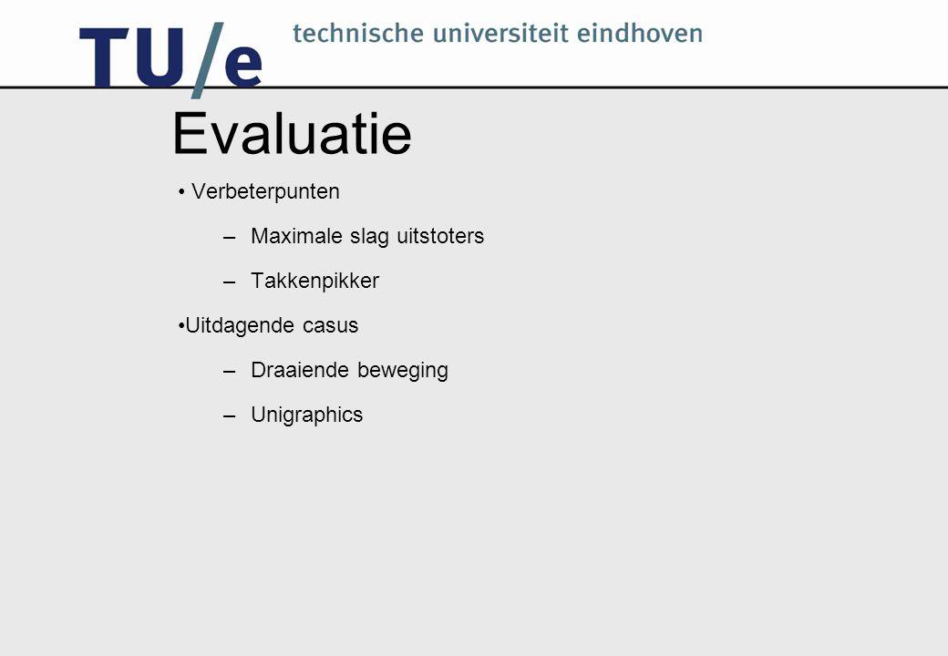 Evaluatie Verbeterpunten –Maximale slag uitstoters –Takkenpikker Uitdagende casus –Draaiende beweging –Unigraphics
