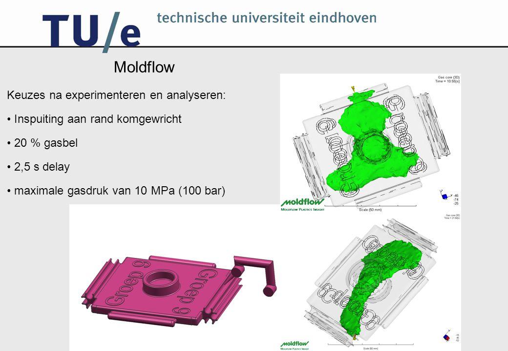 Moldflow Keuzes na experimenteren en analyseren: Inspuiting aan rand komgewricht 20 % gasbel 2,5 s delay maximale gasdruk van 10 MPa (100 bar)