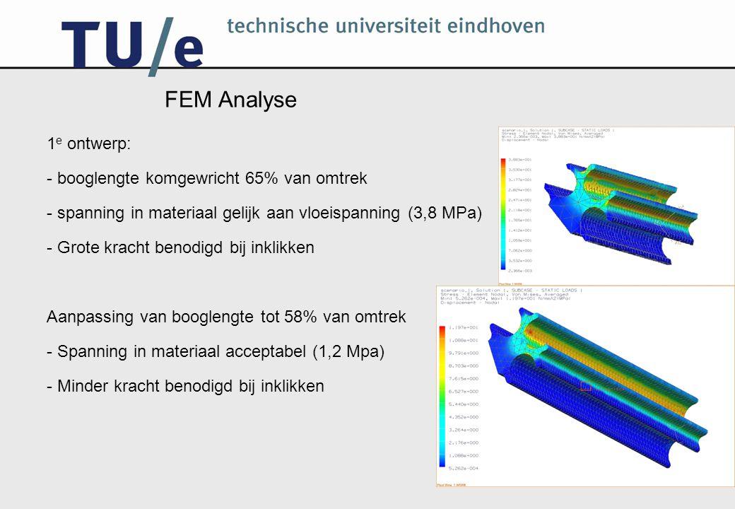 FEM Analyse 1 e ontwerp: - booglengte komgewricht 65% van omtrek - spanning in materiaal gelijk aan vloeispanning (3,8 MPa) - Grote kracht benodigd bi