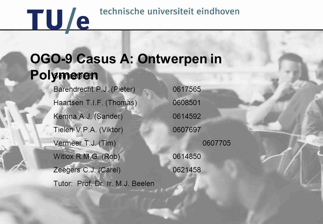 OGO-9 Casus A: Ontwerpen in Polymeren Semester 2.1 Barendrecht P.J. (Pieter)0617565 Haartsen T.I.F. (Thomas)0608501 Kemna A.J. (Sander)0614592 Tielen