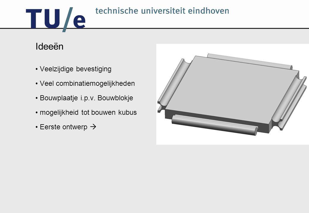 Ideeën Veelzijdige bevestiging Veel combinatiemogelijkheden Bouwplaatje i.p.v. Bouwblokje mogelijkheid tot bouwen kubus Eerste ontwerp 