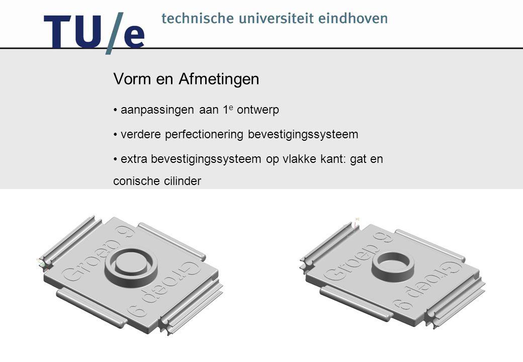 Vorm en Afmetingen aanpassingen aan 1 e ontwerp verdere perfectionering bevestigingssysteem extra bevestigingssysteem op vlakke kant: gat en conische