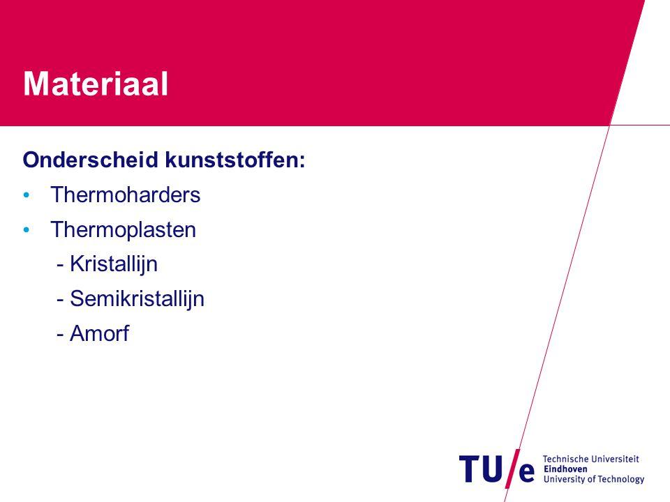 Materiaal Onderscheid kunststoffen: Thermoharders Thermoplasten - Kristallijn - Semikristallijn - Amorf