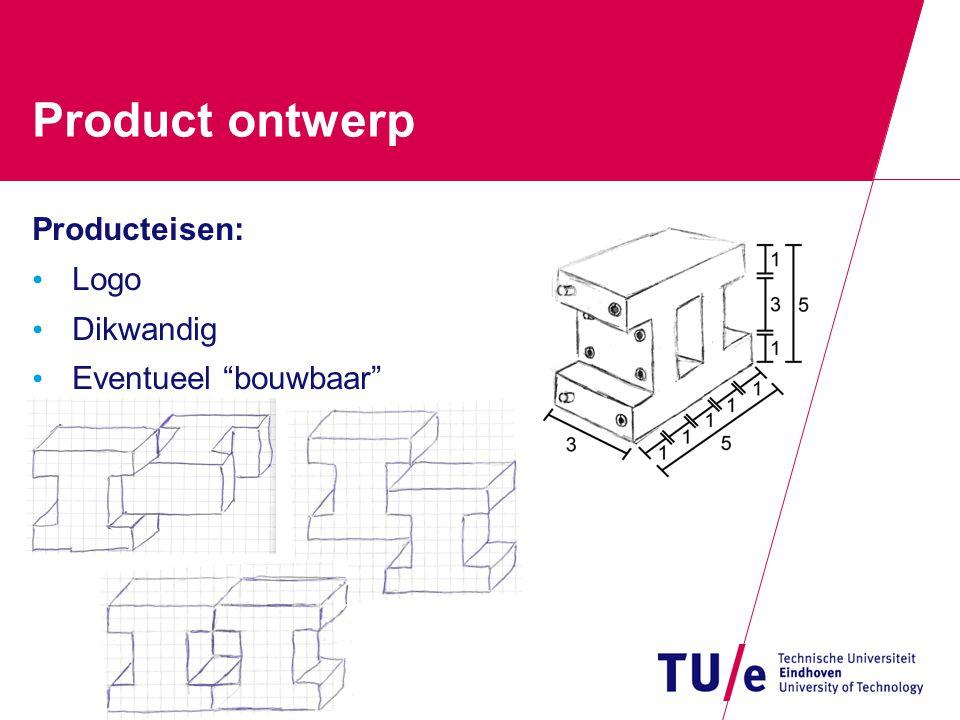 Product ontwerp Producteisen: Logo Dikwandig Eventueel bouwbaar
