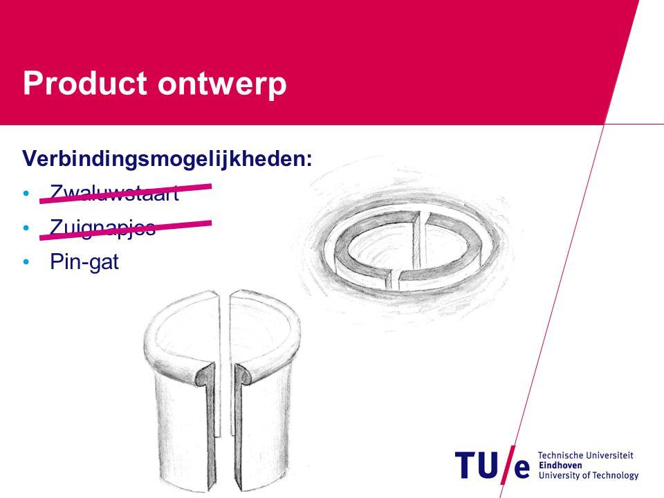 Product ontwerp Verbindingsmogelijkheden: Zwaluwstaart Zuignapjes Pin-gat