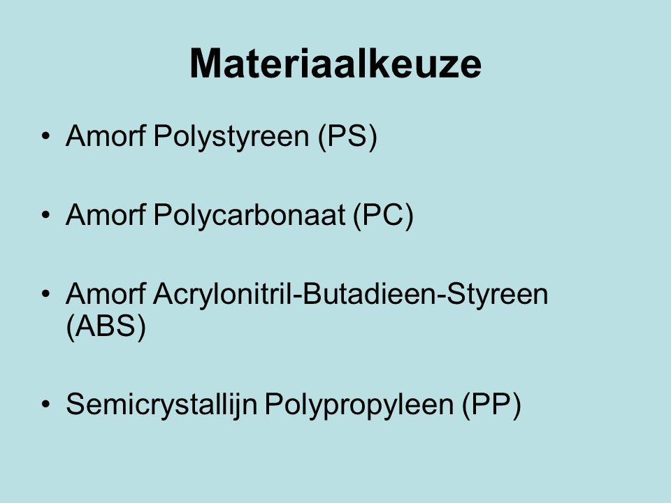 Materiaalkeuze Amorf Polystyreen (PS) Amorf Polycarbonaat (PC) Amorf Acrylonitril-Butadieen-Styreen (ABS) Semicrystallijn Polypropyleen (PP)
