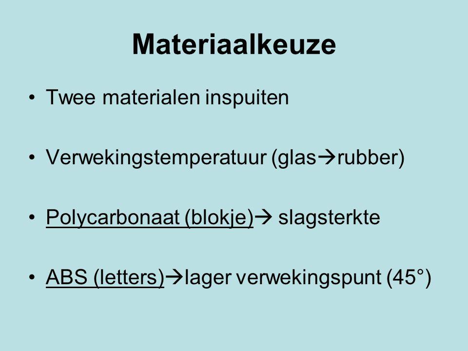 Materiaalkeuze Twee materialen inspuiten Verwekingstemperatuur (glas  rubber) Polycarbonaat (blokje)  slagsterkte ABS (letters)  lager verwekingspu