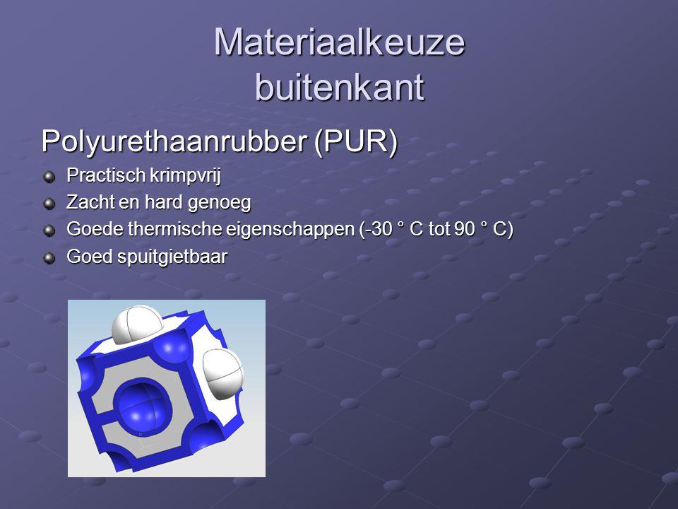Materiaalkeuze buitenkant Polyurethaanrubber (PUR) Practisch krimpvrij Zacht en hard genoeg Goede thermische eigenschappen (-30 ° C tot 90 ° C) Goed s