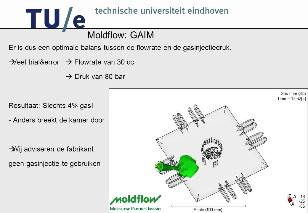Moldflow: GAIM Er is dus een optimale balans tussen de flowrate en de gasinjectiedruk.  Veel trial&error  Flowrate van 30 cc  Druk van 80 bar Resul