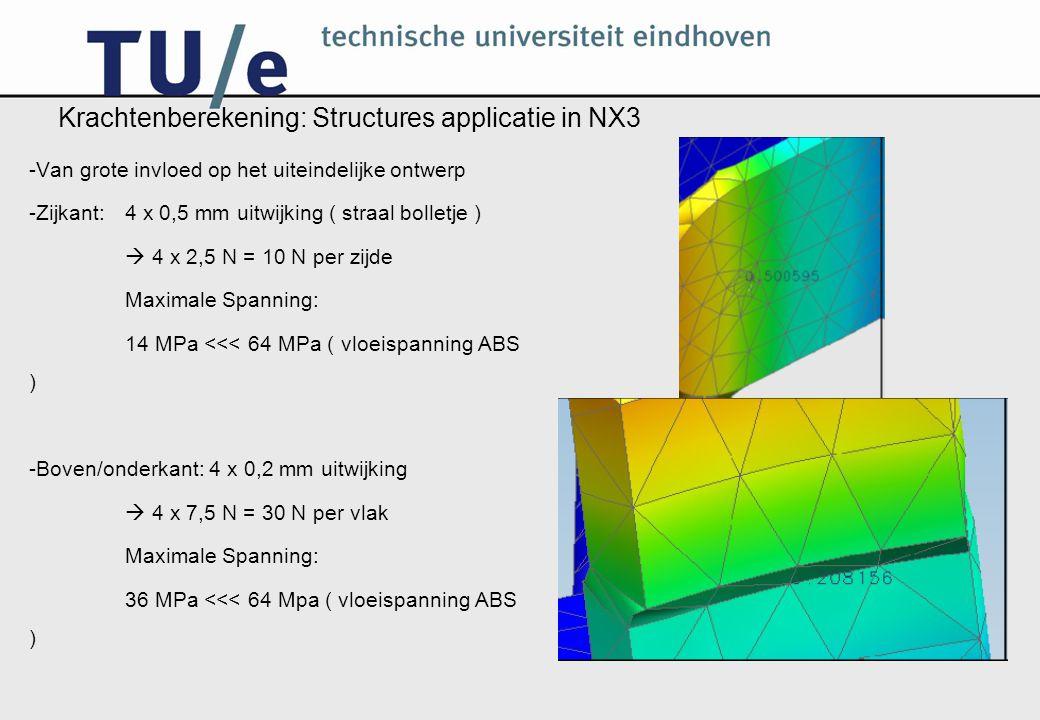 Krachtenberekening: Structures applicatie in NX3 -Van grote invloed op het uiteindelijke ontwerp -Zijkant: 4 x 0,5 mm uitwijking ( straal bolletje )  4 x 2,5 N = 10 N per zijde Maximale Spanning: 14 MPa <<< 64 MPa ( vloeispanning ABS ) -Boven/onderkant: 4 x 0,2 mm uitwijking  4 x 7,5 N = 30 N per vlak Maximale Spanning: 36 MPa <<< 64 Mpa ( vloeispanning ABS )