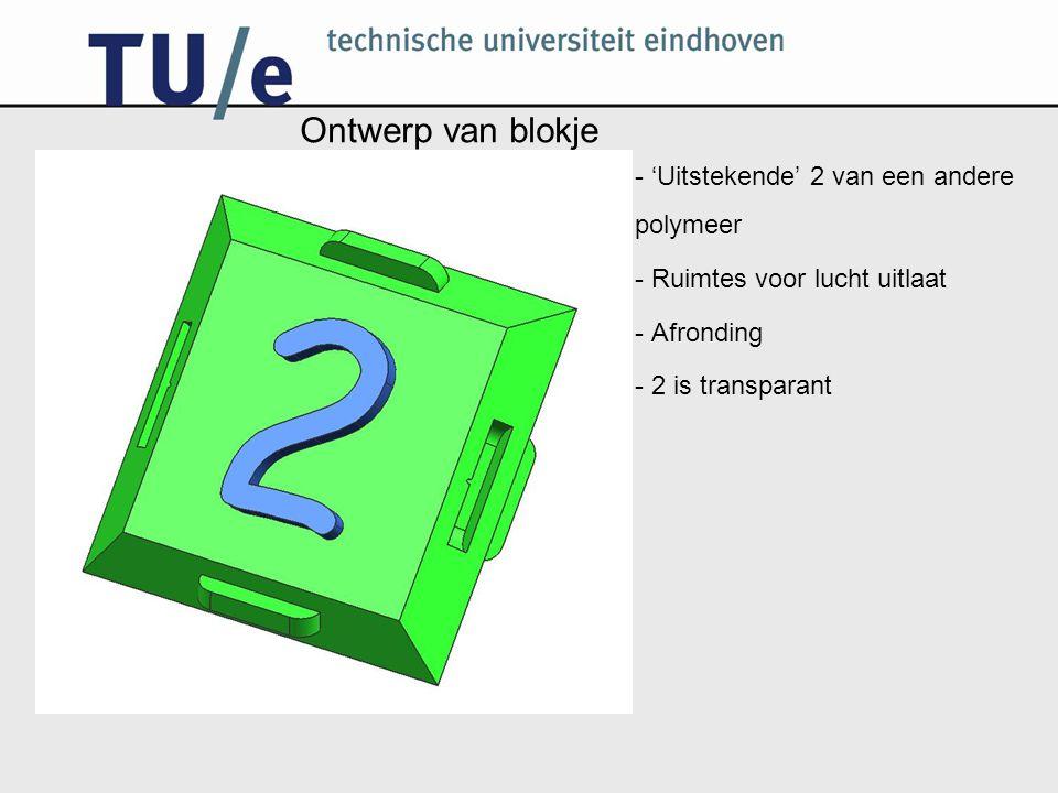 Ontwerp van blokje - 'Uitstekende' 2 van een andere polymeer - Ruimtes voor lucht uitlaat - Afronding - 2 is transparant