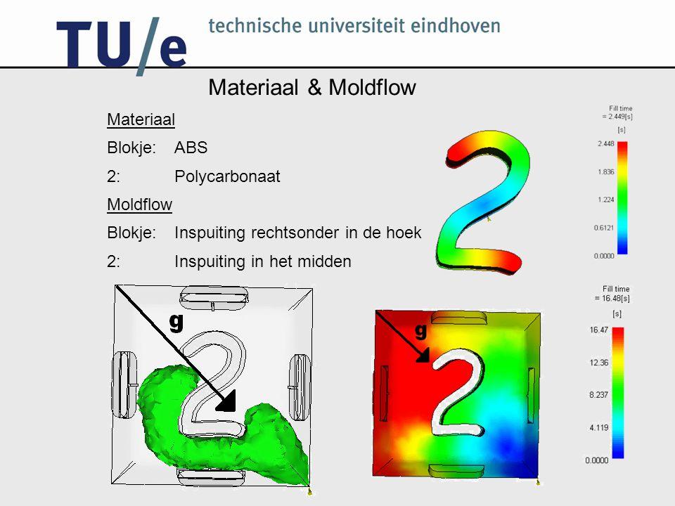 Materiaal & Moldflow Materiaal Blokje: ABS 2: Polycarbonaat Moldflow Blokje: Inspuiting rechtsonder in de hoek 2: Inspuiting in het midden
