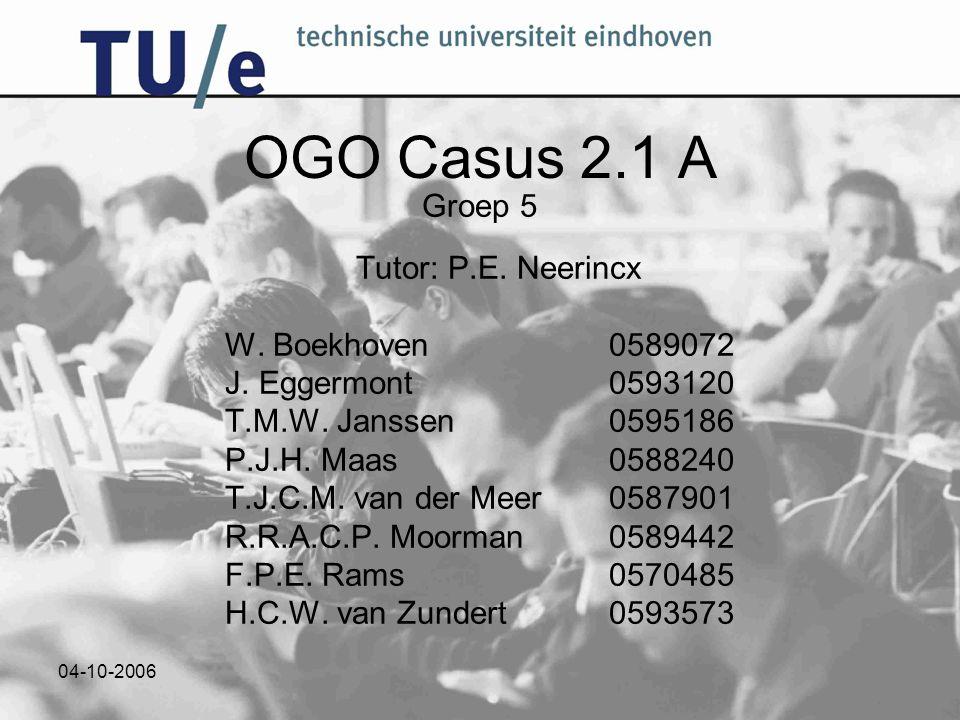 04-10-2006 OGO Casus 2.1 A Groep 5 Tutor: P.E. Neerincx W. Boekhoven0589072 J. Eggermont0593120 T.M.W. Janssen0595186 P.J.H. Maas0588240 T.J.C.M. van