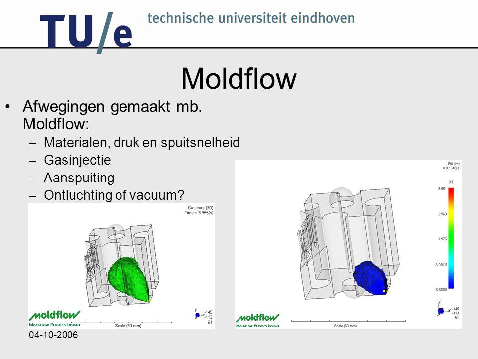04-10-2006 Moldflow Afwegingen gemaakt mb. Moldflow: –Materialen, druk en spuitsnelheid –Gasinjectie –Aanspuiting –Ontluchting of vacuum?