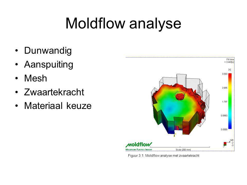 Moldflow analyse Dunwandig Aanspuiting Mesh Zwaartekracht Materiaal keuze Figuur 3.1: Moldflow analyse met zwaartekracht