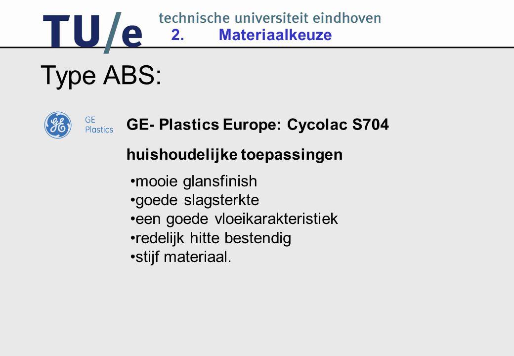 2.Materiaalkeuze Type ABS: mooie glansfinish goede slagsterkte een goede vloeikarakteristiek redelijk hitte bestendig stijf materiaal.