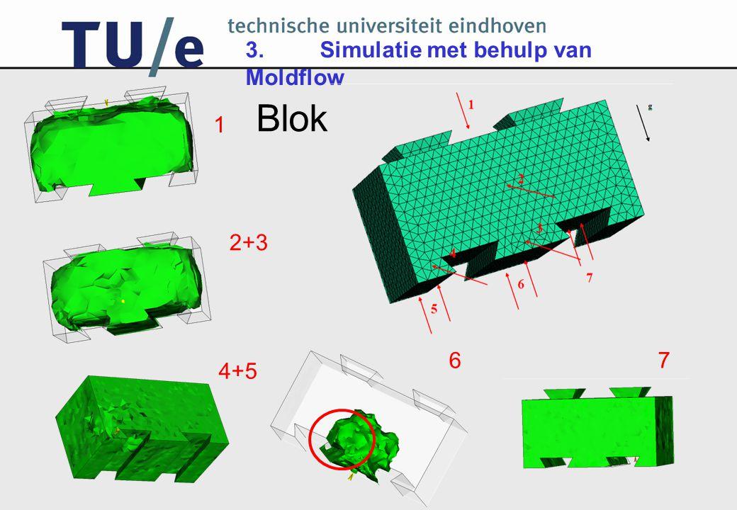 3. Simulatie met behulp van Moldflow 1 2+3 4+5 67 Blok