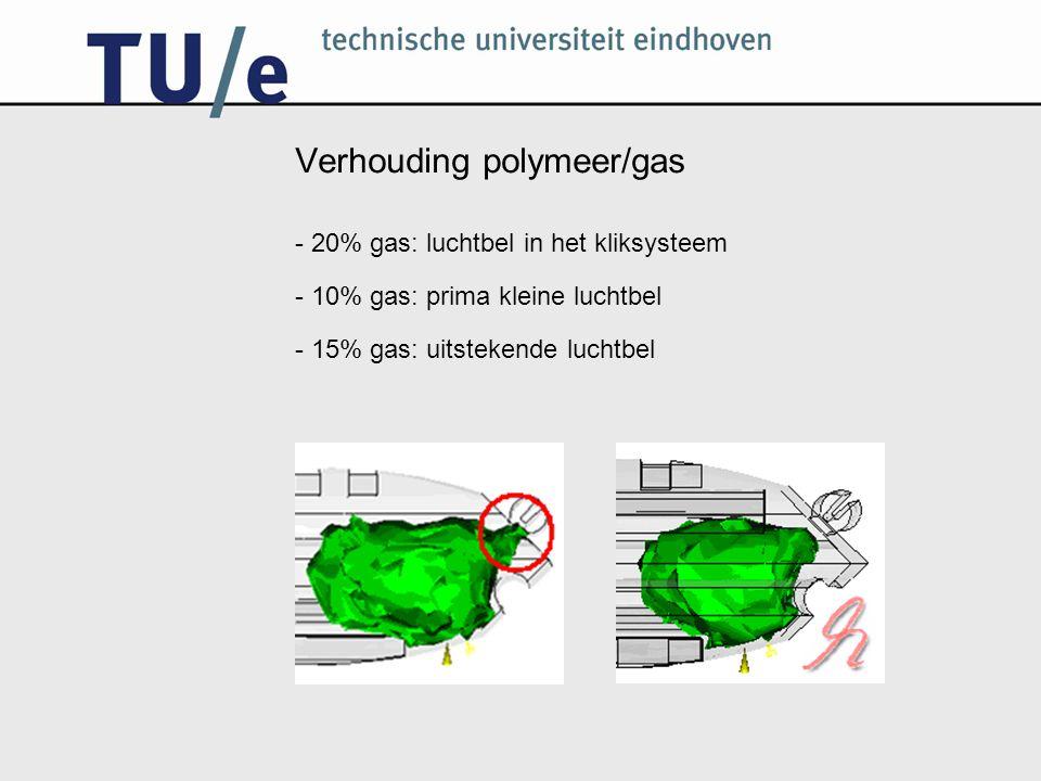 Verhouding polymeer/gas - 20% gas: luchtbel in het kliksysteem - 10% gas: prima kleine luchtbel - 15% gas: uitstekende luchtbel