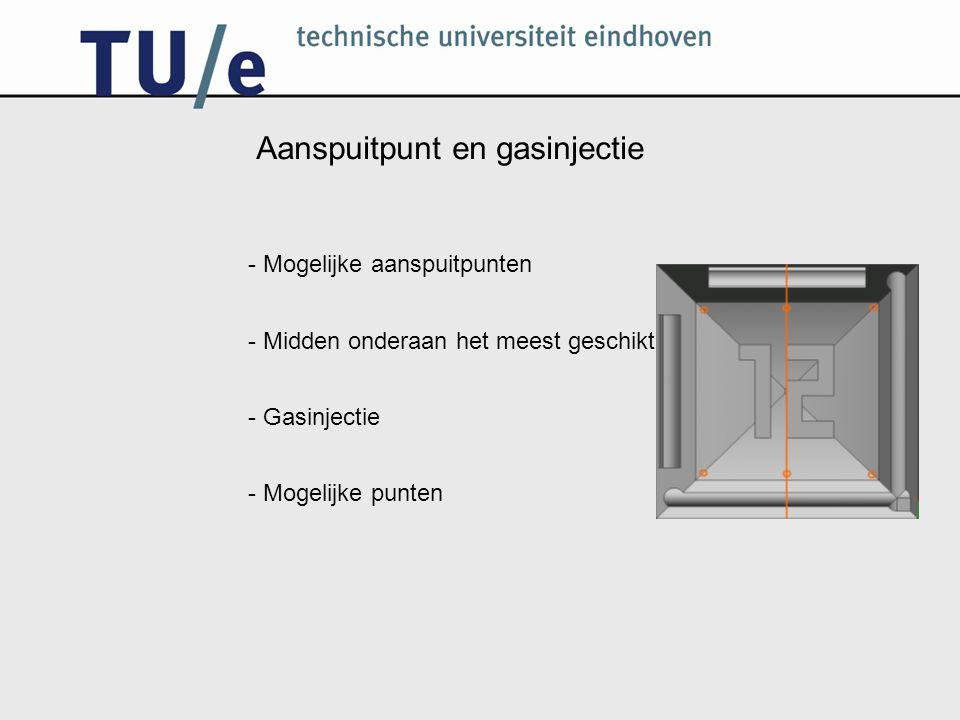 Aanspuitpunt en gasinjectie - Mogelijke aanspuitpunten - Midden onderaan het meest geschikt - Gasinjectie - Mogelijke punten