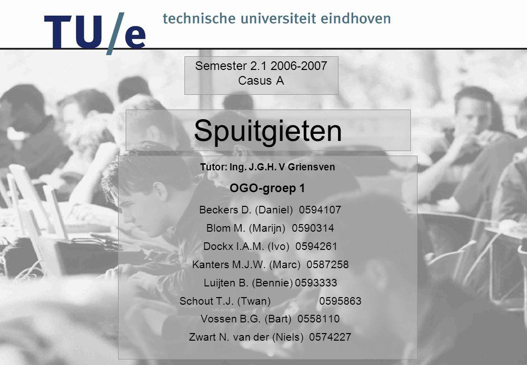Semester 2.1 2006-2007 Casus A Tutor: Ing. J.G.H. V Griensven OGO-groep 1 Beckers D. (Daniel) 0594107 Blom M. (Marijn) 0590314 Dockx I.A.M. (Ivo) 0594