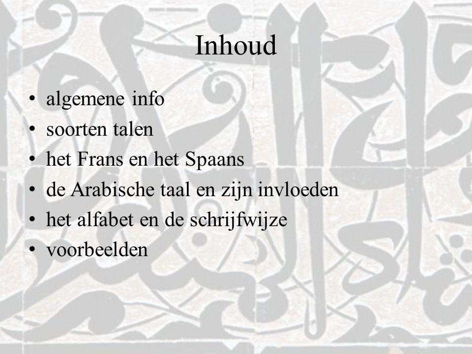 Inhoud algemene info soorten talen het Frans en het Spaans de Arabische taal en zijn invloeden het alfabet en de schrijfwijze voorbeelden