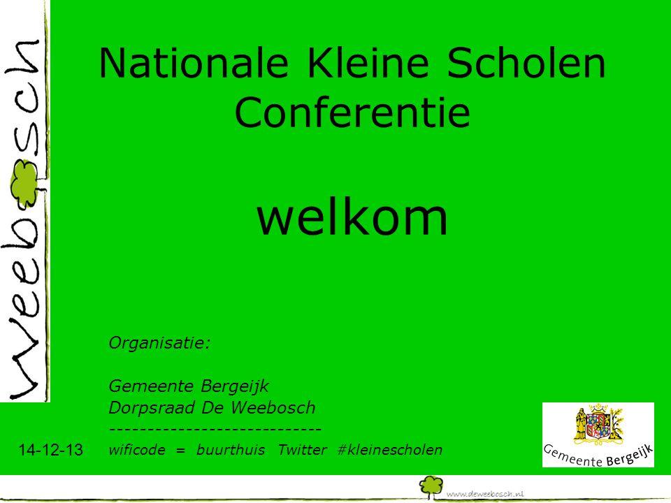 14-12-13 Nationale Kleine Scholen Conferentie welkom Organisatie: Gemeente Bergeijk Dorpsraad De Weebosch ---------------------------- wificode = buur