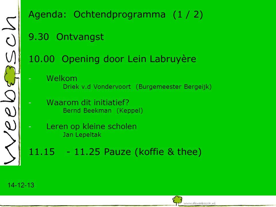 14-12-13 Agenda: Ochtendprogramma (1 / 2) 9.30 Ontvangst 10.00 Opening door Lein Labruyère - Welkom Driek v.d Vondervoort (Burgemeester Bergeijk) - Wa
