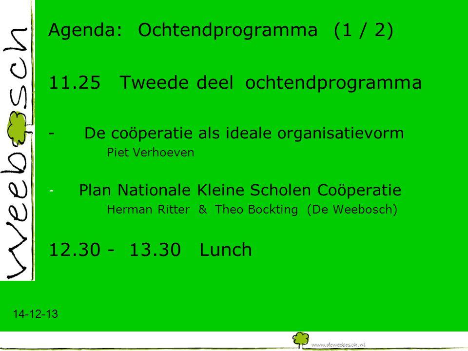 14-12-13 Agenda: Ochtendprogramma (1 / 2) 11.25 Tweede deel ochtendprogramma -De coöperatie als ideale organisatievorm Piet Verhoeven - Plan Nationale Kleine Scholen Coöperatie Herman Ritter & Theo Bockting (De Weebosch) 12.30 - 13.30Lunch