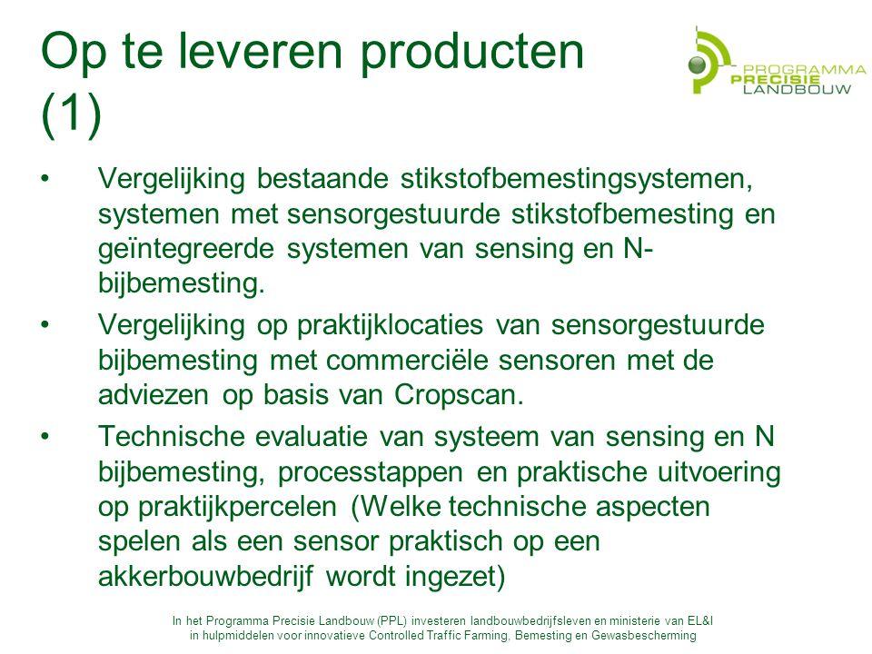 In het Programma Precisie Landbouw (PPL) investeren landbouwbedrijfsleven en ministerie van EL&I in hulpmiddelen voor innovatieve Controlled Traffic Farming, Bemesting en Gewasbescherming Op te leveren producten (1) Vergelijking bestaande stikstofbemestingsystemen, systemen met sensorgestuurde stikstofbemesting en geïntegreerde systemen van sensing en N- bijbemesting.