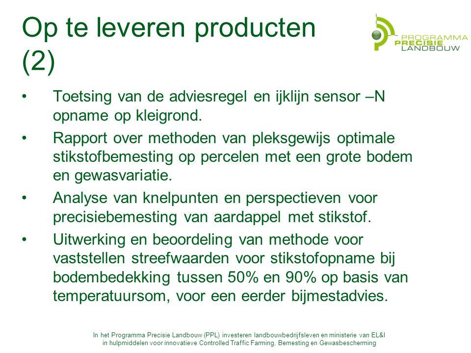 In het Programma Precisie Landbouw (PPL) investeren landbouwbedrijfsleven en ministerie van EL&I in hulpmiddelen voor innovatieve Controlled Traffic Farming, Bemesting en Gewasbescherming Op te leveren producten (2) Toetsing van de adviesregel en ijklijn sensor –N opname op kleigrond.