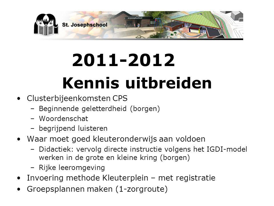 2011-2012 Kennis uitbreiden Clusterbijeenkomsten CPS –Beginnende geletterdheid (borgen) –Woordenschat –begrijpend luisteren Waar moet goed kleuteronde