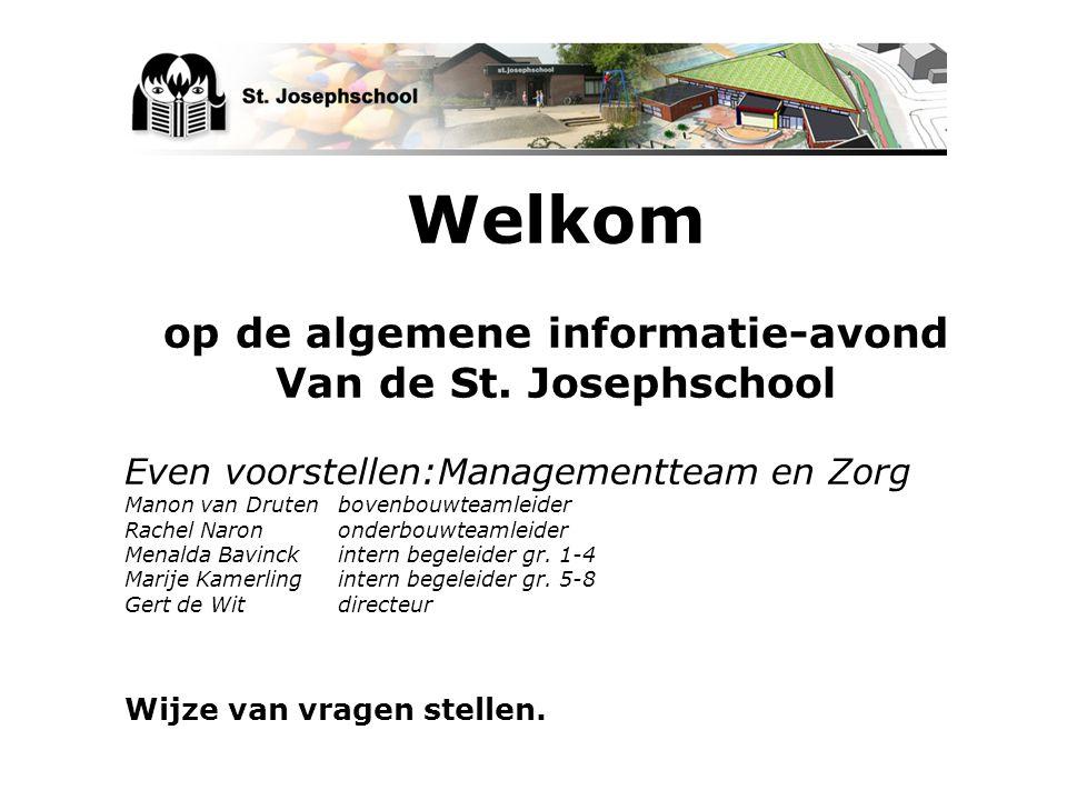 Welkom op de algemene informatie-avond Van de St. Josephschool Even voorstellen:Managementteam en Zorg Manon van Druten bovenbouwteamleider Rachel Nar