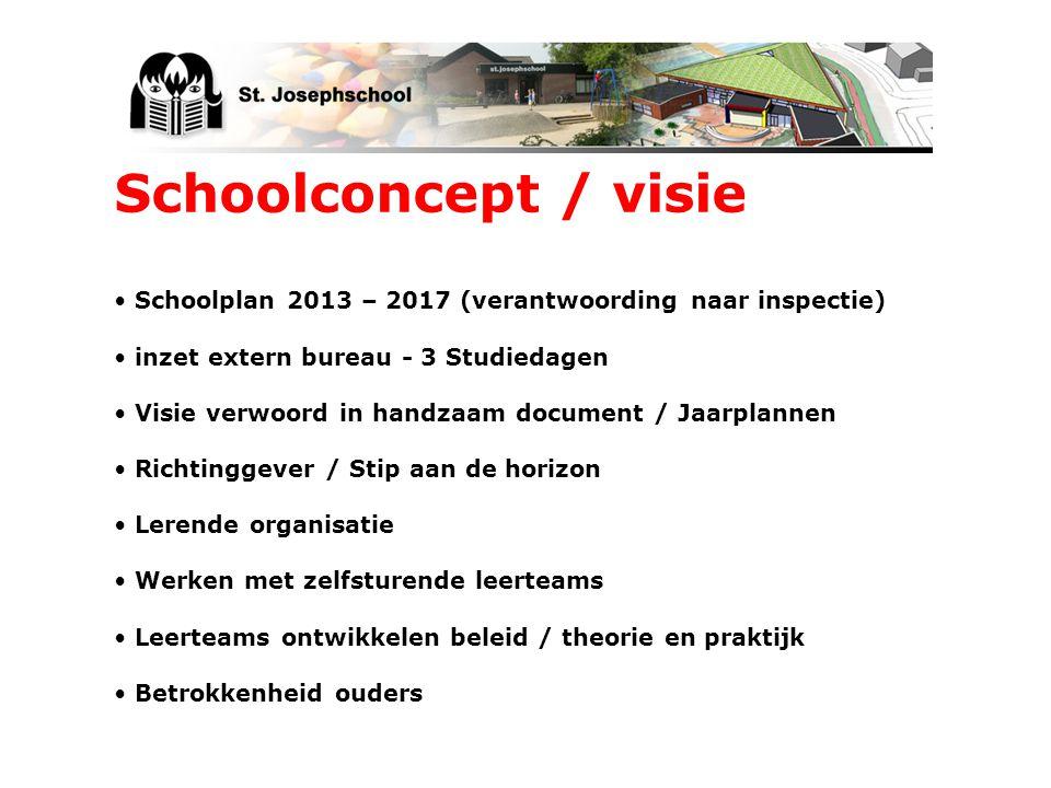 Schoolplan 2013 – 2017 (verantwoording naar inspectie) inzet extern bureau - 3 Studiedagen Visie verwoord in handzaam document / Jaarplannen Richtingg