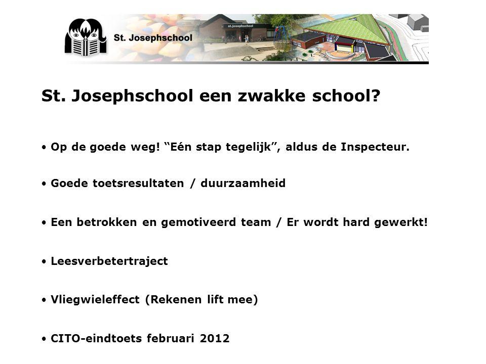 """St. Josephschool een zwakke school? Op de goede weg! """"Eén stap tegelijk"""", aldus de Inspecteur. Goede toetsresultaten / duurzaamheid Een betrokken en g"""