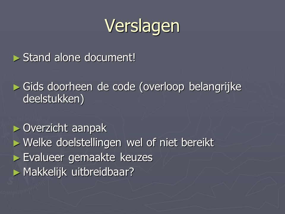 Verslagen ► Stand alone document.