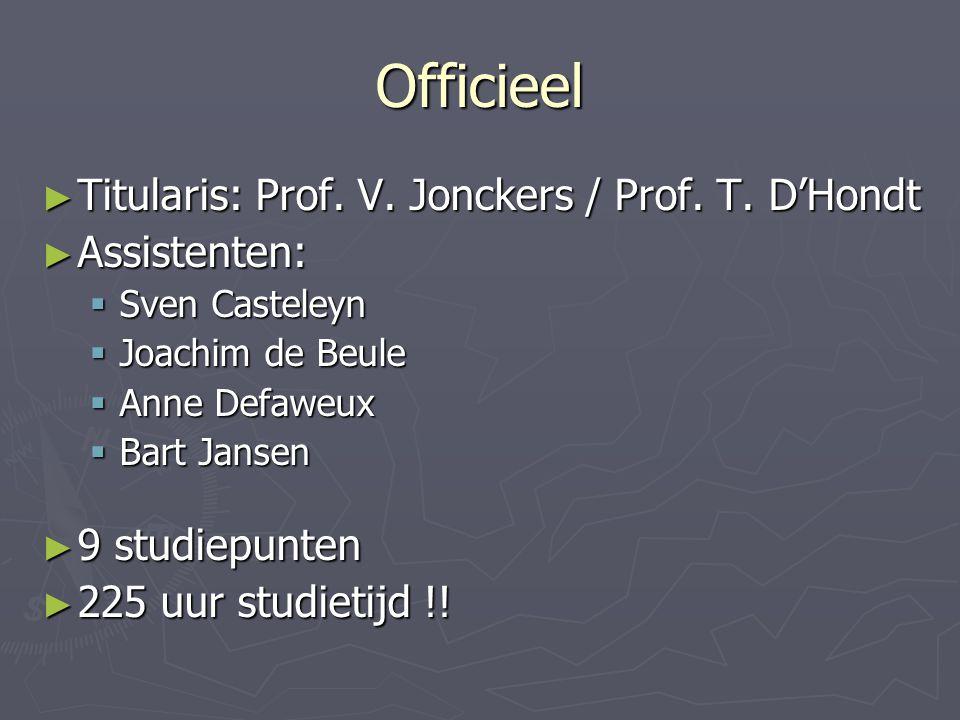 Officieel ► Titularis: Prof. V. Jonckers / Prof.