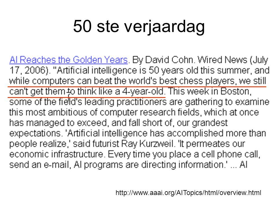 Resultaten inzicht in de complexiteit van natuurlijke intelligentie dankzij symbolische modellen die onze observaties van intelligent gedrag kunnen nabootsen talrijke nuttige computer en/of robot gebaseerde devices die taken aankunnen waarvan we aannemen dat een mens daarbij z'n verstand (en z'n lichaam) gebruikt
