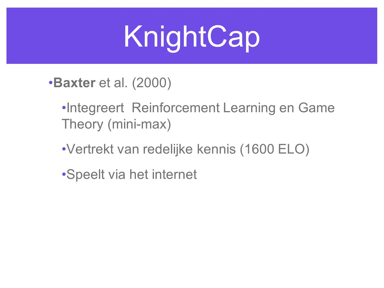 KnightCap Baxter et al. (2000) Integreert Reinforcement Learning en Game Theory (mini-max) Vertrekt van redelijke kennis (1600 ELO) Speelt via het int