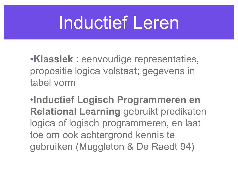 Inductief Leren Klassiek : eenvoudige representaties, propositie logica volstaat; gegevens in tabel vorm Inductief Logisch Programmeren en Relational