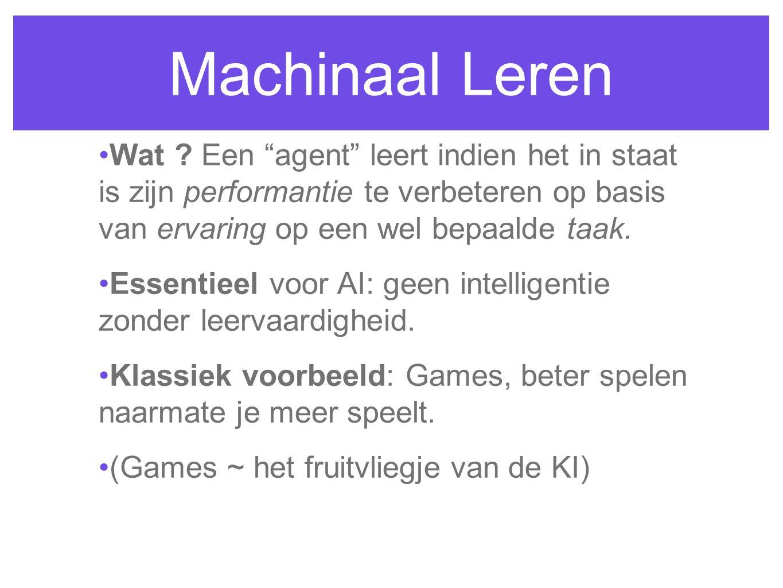"""Machinaal Leren Wat ? Een """"agent"""" leert indien het in staat is zijn performantie te verbeteren op basis van ervaring op een wel bepaalde taak. Essenti"""