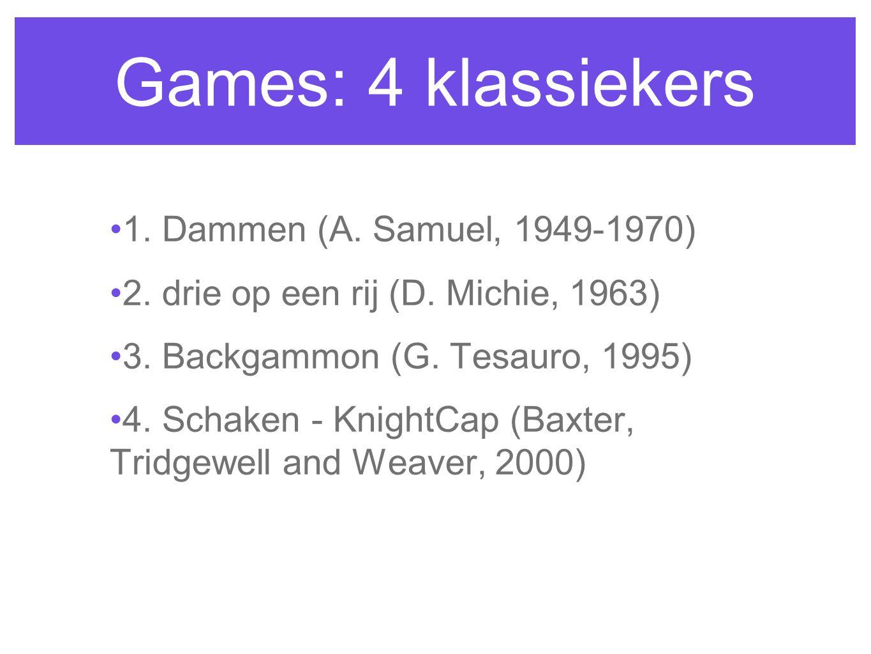 Games: 4 klassiekers 1. Dammen (A. Samuel, 1949-1970) 2. drie op een rij (D. Michie, 1963) 3. Backgammon (G. Tesauro, 1995) 4. Schaken - KnightCap (Ba
