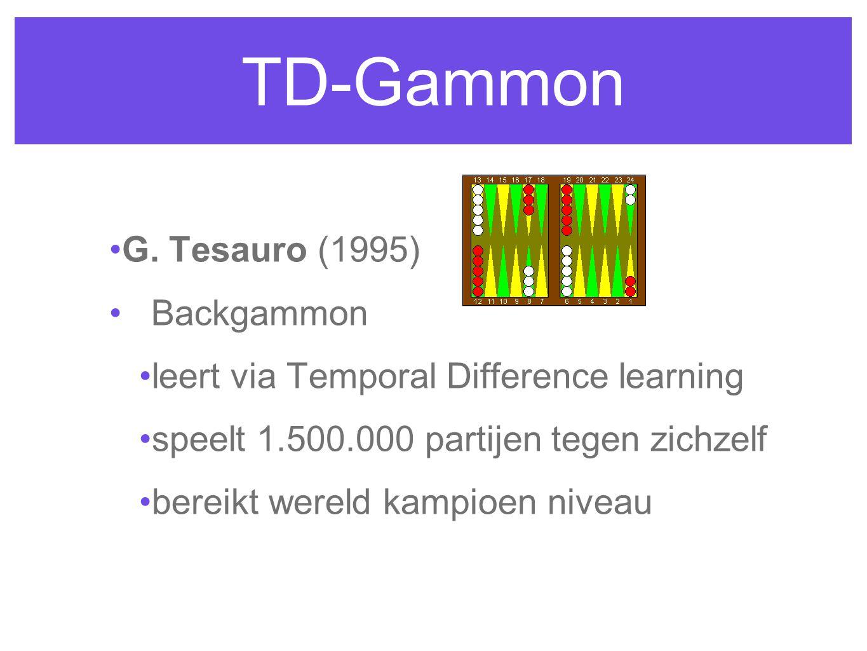 TD-Gammon G. Tesauro (1995) Backgammon leert via Temporal Difference learning speelt 1.500.000 partijen tegen zichzelf bereikt wereld kampioen niveau