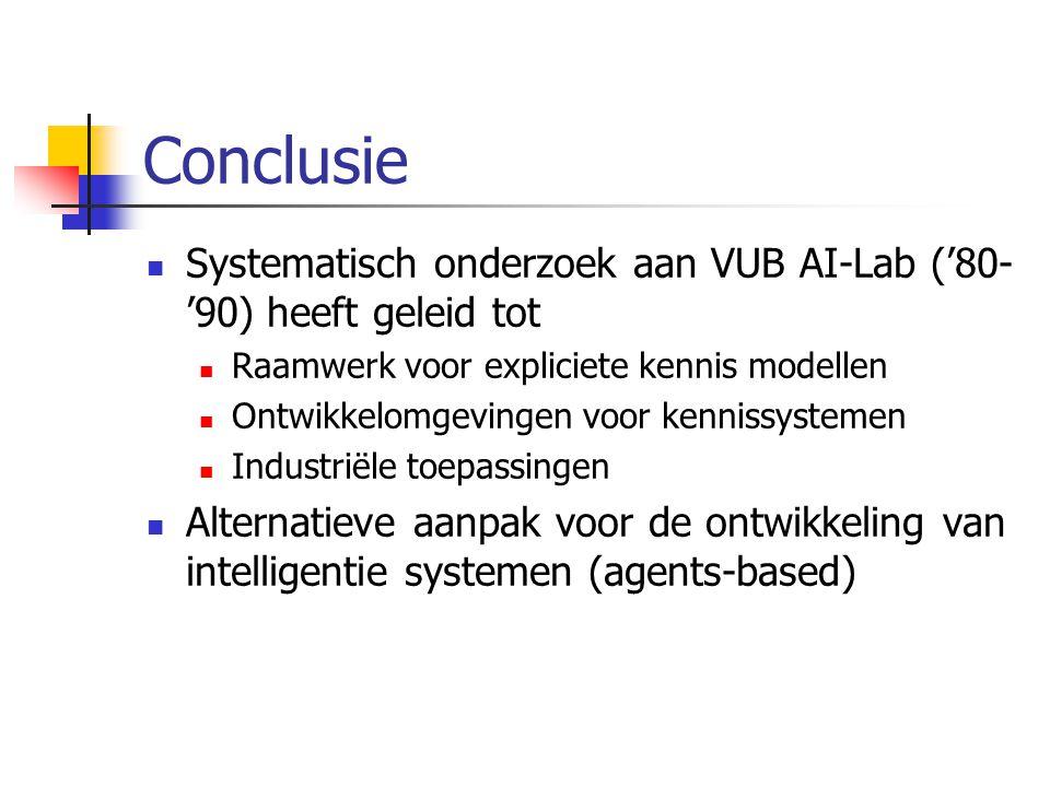 Conclusie Systematisch onderzoek aan VUB AI-Lab ('80- '90) heeft geleid tot Raamwerk voor expliciete kennis modellen Ontwikkelomgevingen voor kennissystemen Industriële toepassingen Alternatieve aanpak voor de ontwikkeling van intelligentie systemen (agents-based)